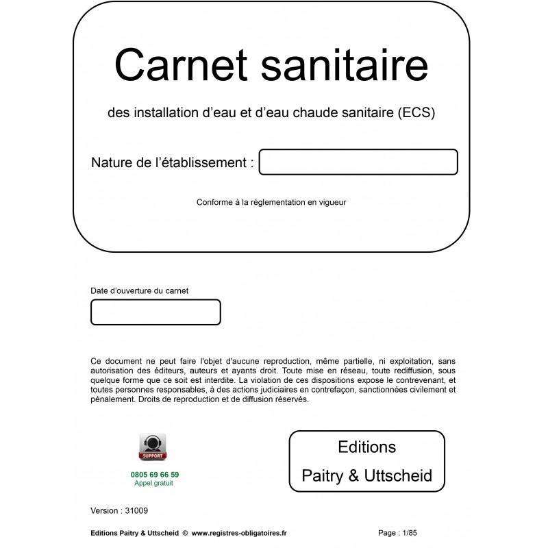 Carnet sanitaire des installations d'eau et d'eau chaude sanitaire (ECS)