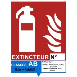 Signalétique extincteur AB Eau + Additif - Autocollant vinyl waterproof - L.150 x H.200 mm