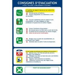 Consignes d'évacuation - Lycées, Collège, Etablissements scolaires... - Autocollant vinyl waterproof - L.200 x H.300 mm
