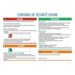 Consignes de sécurité cuisine