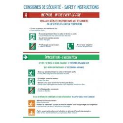 Consignes de sécurité (Chambres) Autocollant vinyl waterproof -  L.200 x H.300 mm