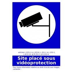 Site placé sous vidéoprotection - Autocollant vinyl waterproof - L.148 x H.210 mm