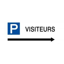 Panneau parking visiteurs flèche droite  - Support PVC 2mm