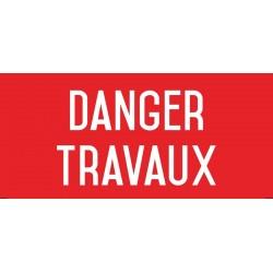 Danger : travaux - Autocollant vinyl waterproof - L.200 x H.100 mm