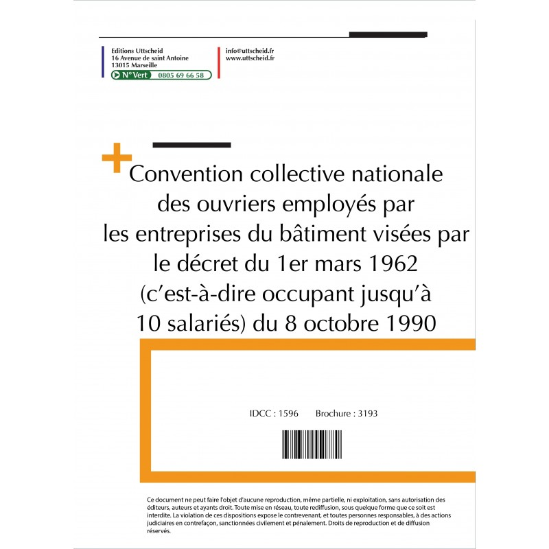 Convention collective nationale Bâtiment - 10 salariés 2015 + Grille de Salaire