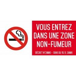 Vous entrez dans une zone non fumeur- Autocollant vinyl waterproof - L.200 x H.100 mm