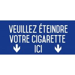 Veuillez éteindre votre cigarette ici bleu - Autocollant vinyl waterproof - L.200 x H.100 mm