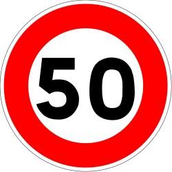 Panneau de limitation de vitesse à 50 km/h - Autocollant vinyl waterproof - Diamètre de 200 mm