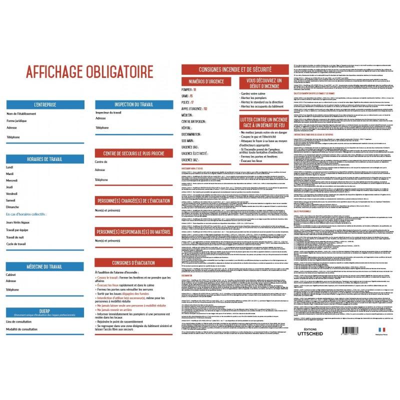 Affichage Entreprise Obligatoire 2019 100 Complet Plastifié Feutre Fourni
