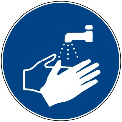 Panneaux de signalisation obligation. Lavage des mains obligatoire