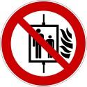 Panneau interdition d´utiliser l´assenceur en cas d´incendie