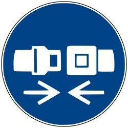 Panneau de signalisation obligation. Attacher la ceinture de sécurité
