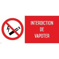 Vapotage - Vapoter interdit - Autocollant affichage vinyl waterproof - Dimensions L.200 x H.100