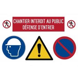Chantier interdit au public défense d'entrer - Autocollant vinyl waterproof - L.297 x H.420 mm