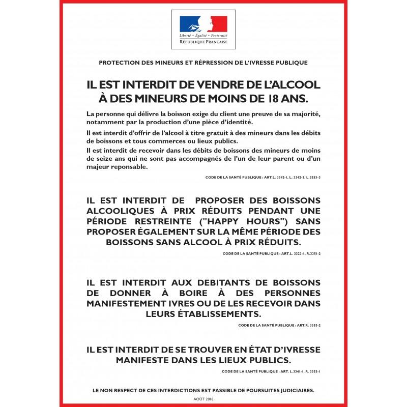 Panneau PROTECTION DES MINEURS ET RÉPRESSION DE L'IVRESSE PUBLIQUE - Consommer sur place