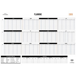 Planning d'organisation des congés - Année civile 2016  - Plastifié et effaçable. Feutre fourni.