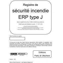 Registre de sécurité incendie ERP de type J
