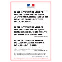 Panneau PROTECTION DES MINEURS ET RÉPRESSION DE L'IVRESSE PUBLIQUE - Station service