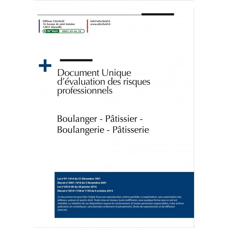 Document unique métier : Boulanger - Pâtissier - Boulangerie - Pâtisserie
