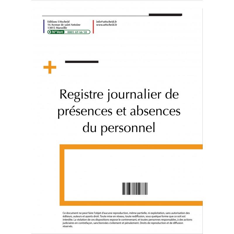 Registre journalier présences et des absences du personnel