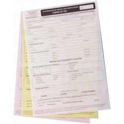 Permis de feu - documents réglementaires autocopiants par liasse de 3 feuillets