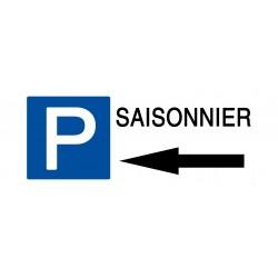 Panneau parking saisonnier flèche gauche - Support PVC 2mm