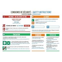Consignes de sécurité activités extérieures
