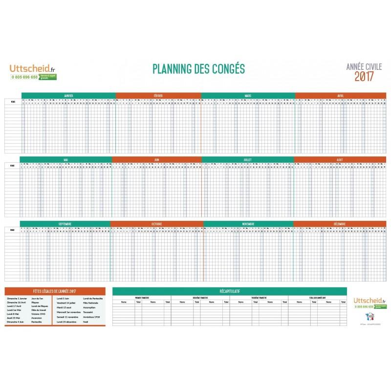 Planning d'organisation des congés - Année civile 2016