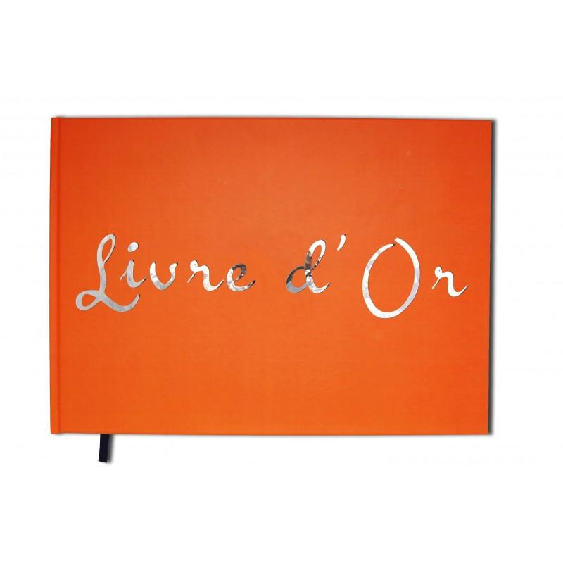 Livre d'or orange - Format A4 paysage - Couverture mate - 100 pages - Qualité premium