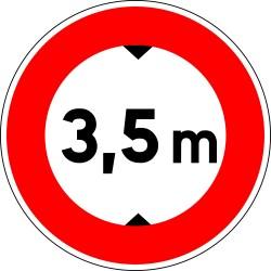 Accès interdit aux véhicules de plus de 3,5 m - Autocollant vinyl waterproof - Diamètre de 200 mm