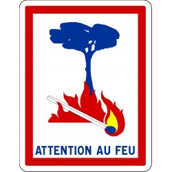 Attention au feu - Autocollant vinyl waterproof - L.200 x H.300 mm