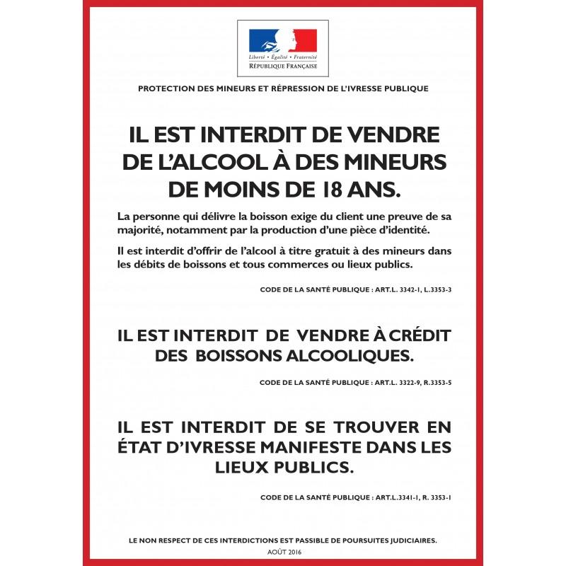 ALCOOL - PROTECTION DES MINEURS ET RÉPRESSION DE L'IVRESSE - Vente à emporter - Autocollant vinyl waterproof - L.148 x H.210 mm
