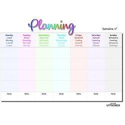 Planning hebdomadaire famille- Plastifié. Feutre à pointe fine eteffaçable fourni.- format A3 paysage ( 29,7 x 42.2 cm)
