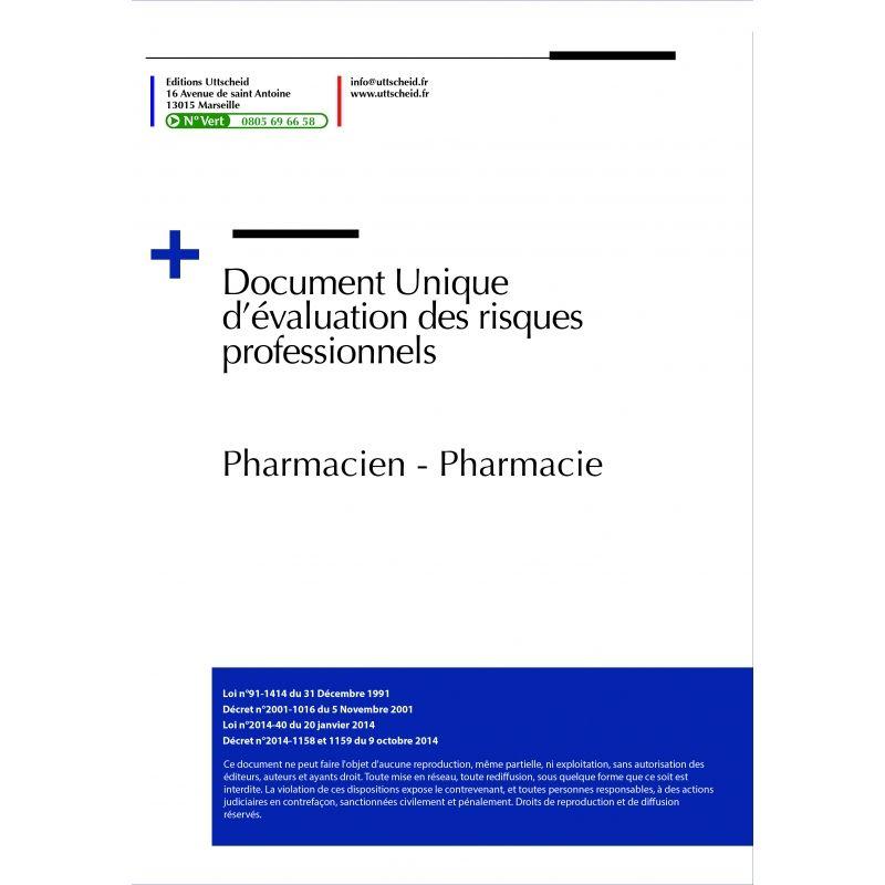 Document Unique d'évaluation des risques professionnels métier : Pharmacien - Pharmacie - Version 2020